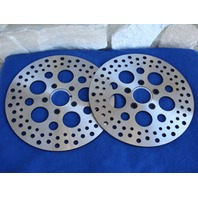 """11.5"""" CIRCULAR DRILLED FRONT ROTORS FOR HARLEY DYNA SUPERGLIDE TOURING 2000 UP"""