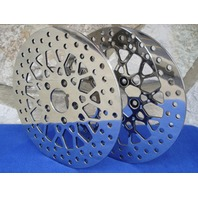 FOR HARLEY MESH FRONT & REAR SPOKE BRAKE ROTOR PAIR PARTS CHOPPER