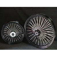 "21X2.15"" & 18X3.5""  MAMMOTH 52 SPOKE BLACK WHEEL SET  HARLEY SOFTAIL CHOPPERS"