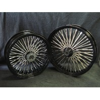 "21X2.15"" & 18X5.5"" DNA MAMMOTH 52 SPOKE BLACK POWDER COATED WHEEL SET FOR HARLEY"