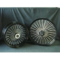 21X3 & 18X4.25 DNA  52 FAT SPOKE BLACK FAT DADDY WHEELS 4 HARLEY SOFTAIL TOURING