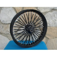 """21X3.5"""" DNA FAT SPOKE 08-UP (ABS) BLACK OUT MAMMOTH FRONT HARLEY FLT TOURING"""