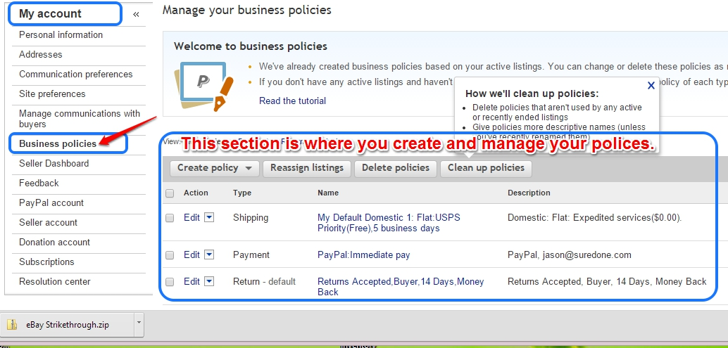 How To Set Ebay Shipping Payment And Return Policies To Create A Suredone Profile Suredone