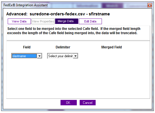 merge assistant data suredone fedex