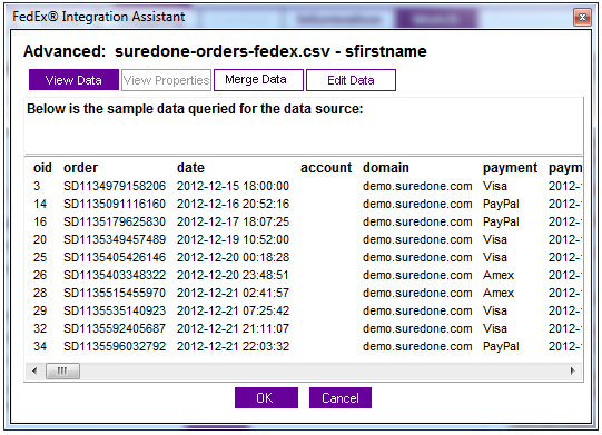 merge view data fedex