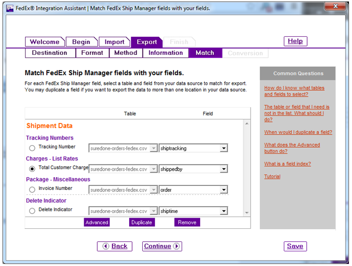 shipment data export match sure done fedex