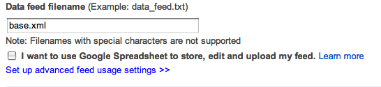setup google shopping suredone data feed filename