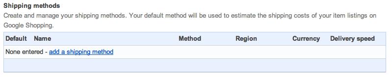 shipping methods google shopping setup suredone