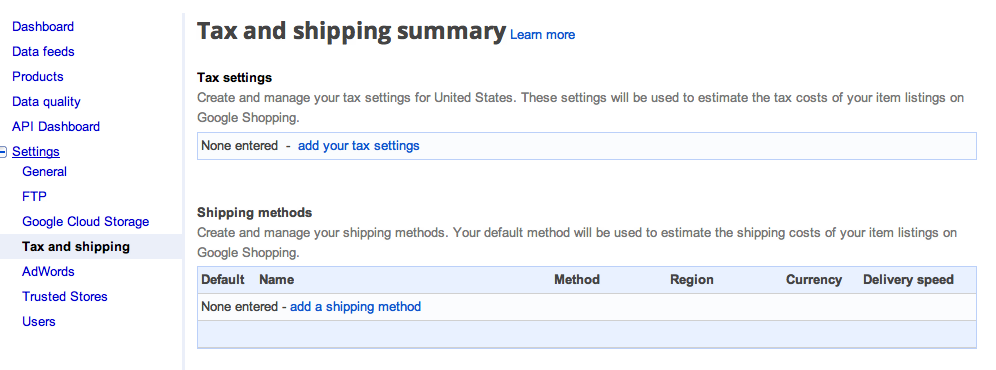 google setup suredone tax shipping settings suredone