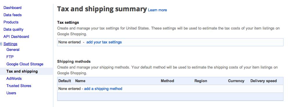 google setup suredone tax shipping settings suredone