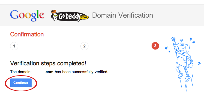 google webmaster godaddy confirmation domain