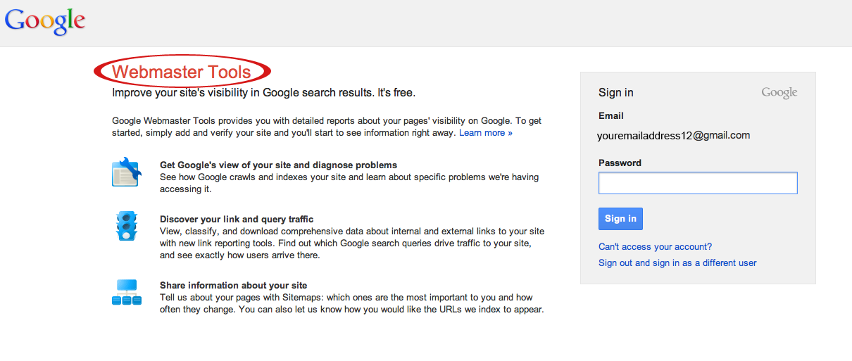 google webmaster tools suredone