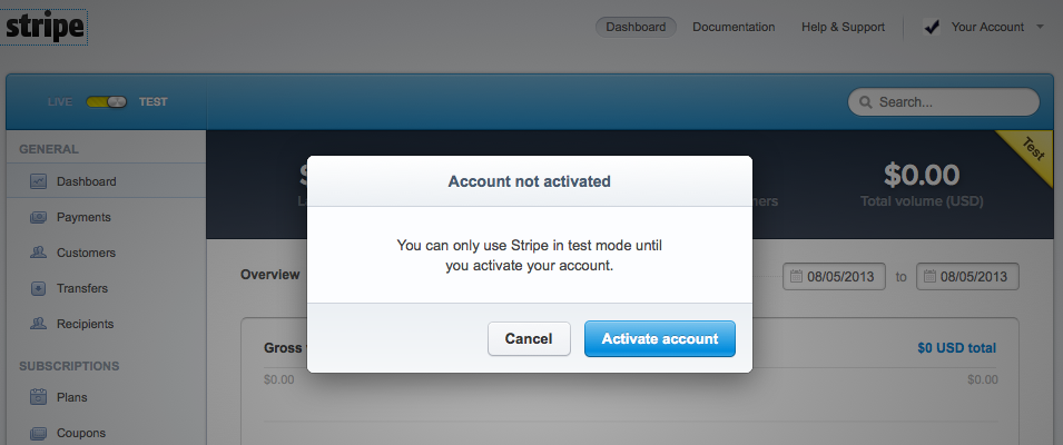 stripe set up activate account