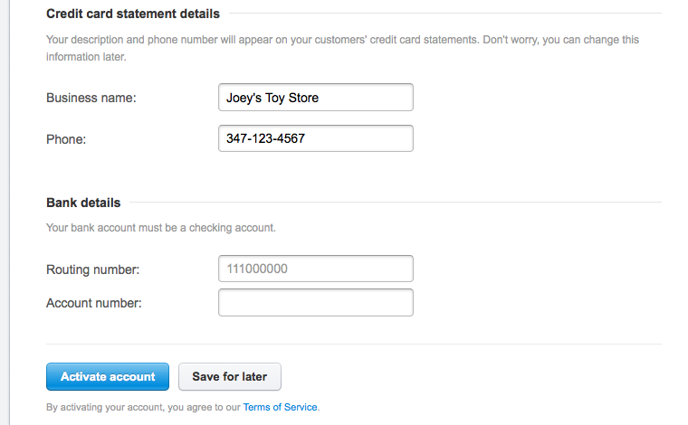 stripe setup credit card statement details