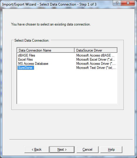 ups select data connection import export suredone