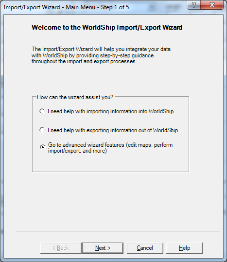 main menu import export wizard worldship ups suredone