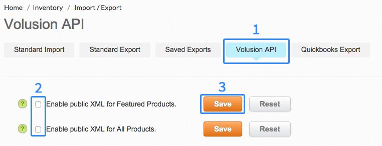 Volusion API settings