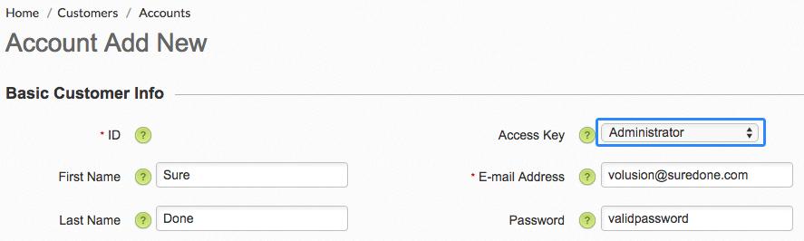 Volusion add an account