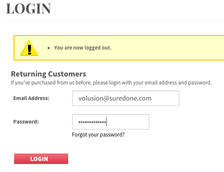Volusion Login Page