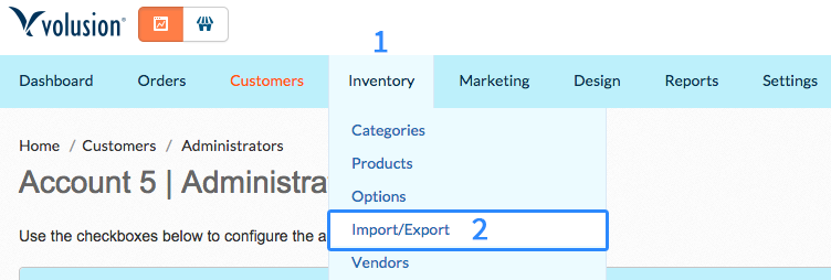 Volusion Inventory Import Export