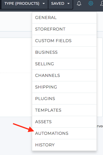Settings section link to Automations UI