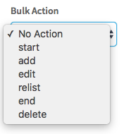 Bulk actions dropdown