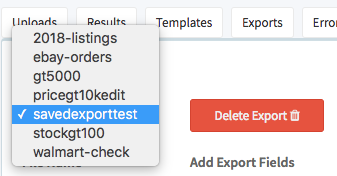 Before deleting saved export